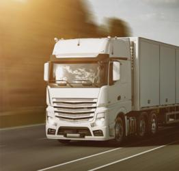 White road freight truck on the road in Perth