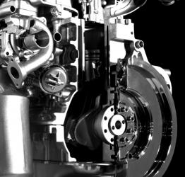 Close up of Engine with a clutch cut in half for display purposes